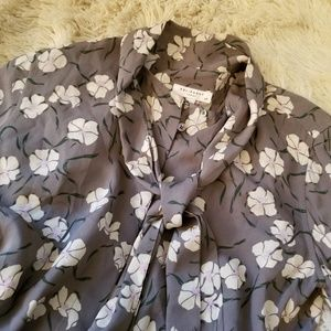 Equipment gray purple floral pussy bow silk blouse